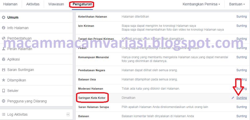 pengaturan fanspage