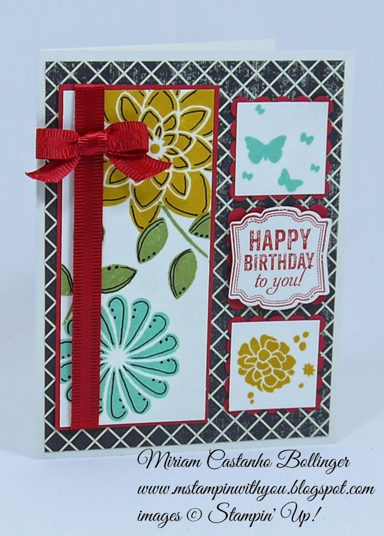 Miriam Castanho Bollinger, mstampinwithyou, stampin up, demonstrator, tlc, splitcoast stamper, birthday card, flashback dsp, crazy about you, perpetual birthday calendar, label love, square punch, su