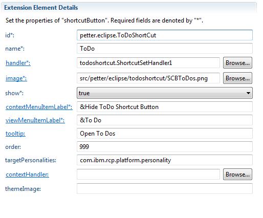 Shortcut Extension Element Details