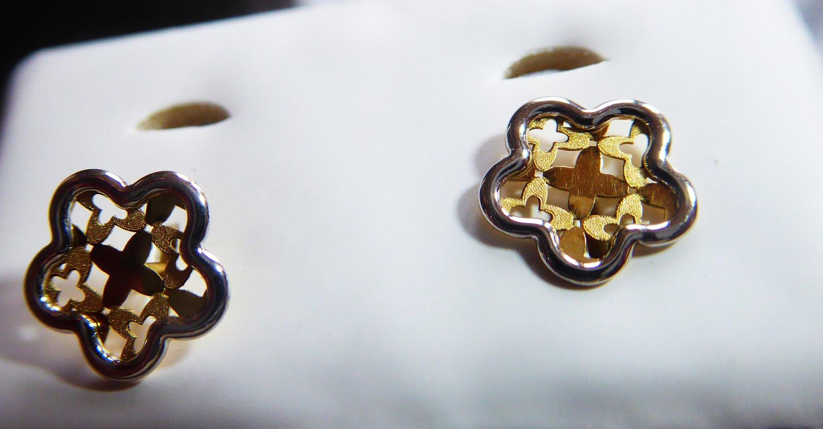 Pendientes de oro bicolor