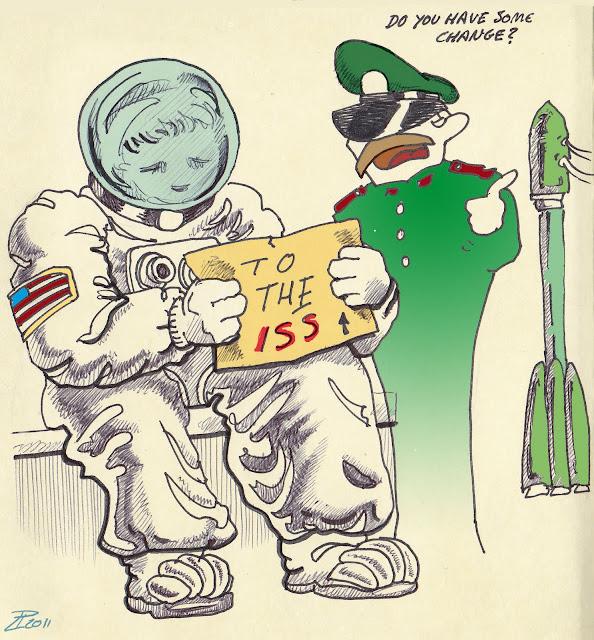 """Cartel del astronauta estadounidense: """"A la ISS"""". Oficial ruso: """"¿Tienes algo suelto?"""""""
