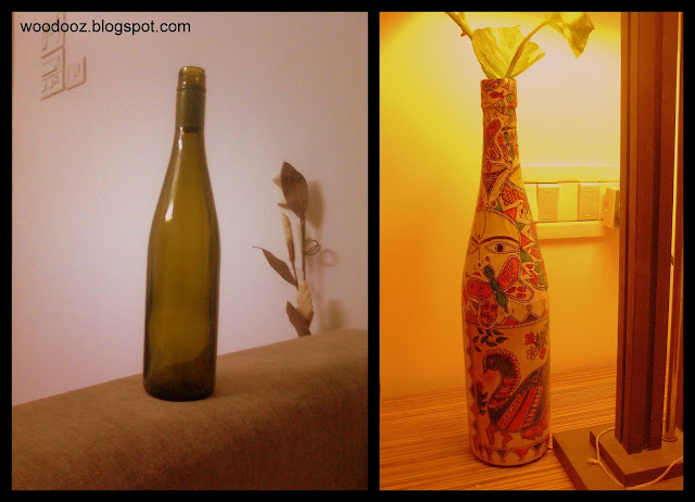 Decoupage on a wine bottle