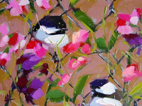 Chickadees and Sweetpeas painting by Angela Moulton