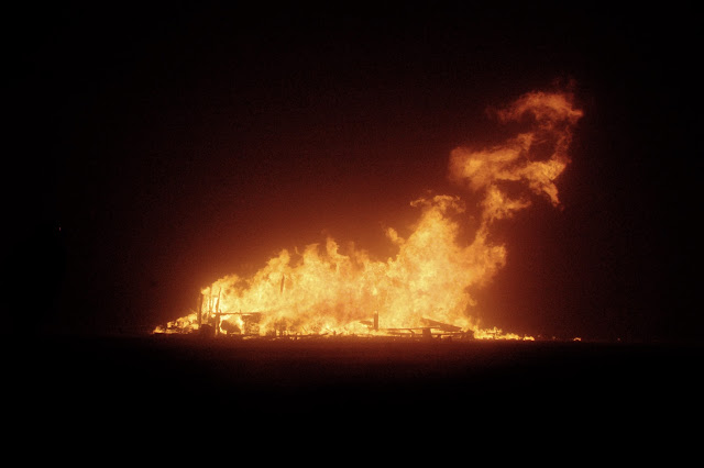 the burning man base in flames