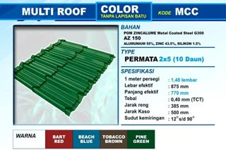 Genteng Metal Multi Roof Color Permata