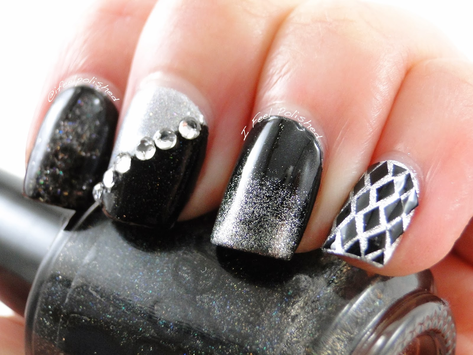I feel polished black and silver nail art black and silver nail art prinsesfo Image collections