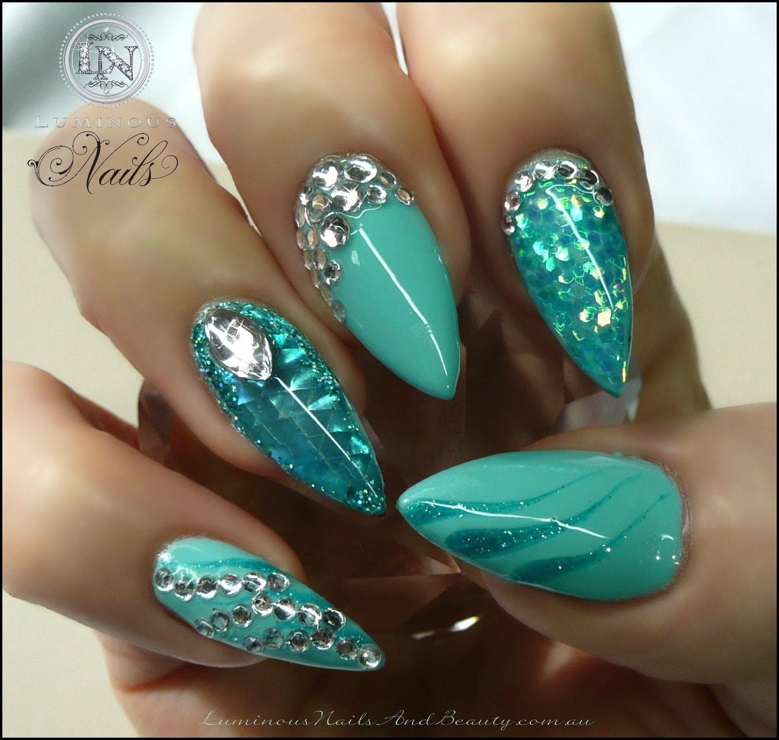 Aquamarine Nails with Glitter & Bling!...