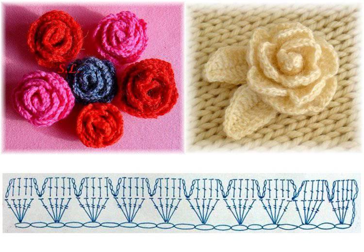 Схема вязания розочки для