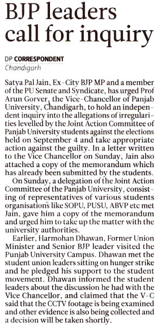 Satya Pal Jain, Ex-City BJP MP and a member of the PU Senate and Syndicate, has urged Prof. Arun Grover, the Vice-Chancellor of Panjab University, Chandigarh, to hold an independent inquiry into the allegations of irregularities levelled by the Joint Action Committee of Panjab University students against the elections held on September 4 and take appropriate action against the guilty.