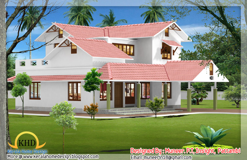 Beautiful Home elevation designs in 3D - Kerala home design and ...