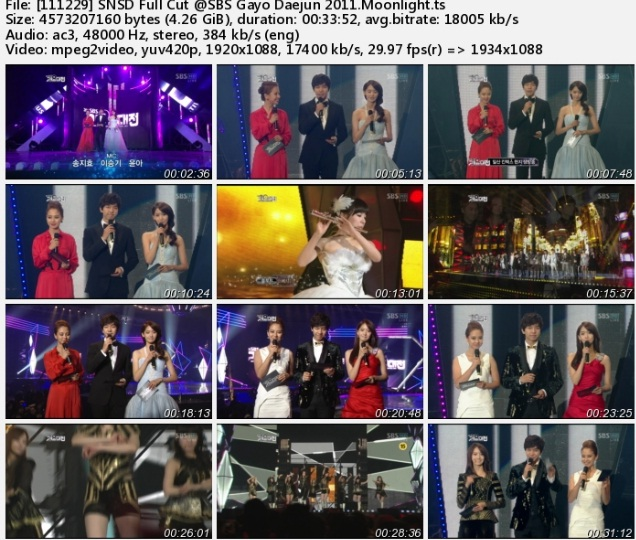 SNSD   GirlsGeneration  SBS Gayo Daejun 2011 Per Cut   Full Show