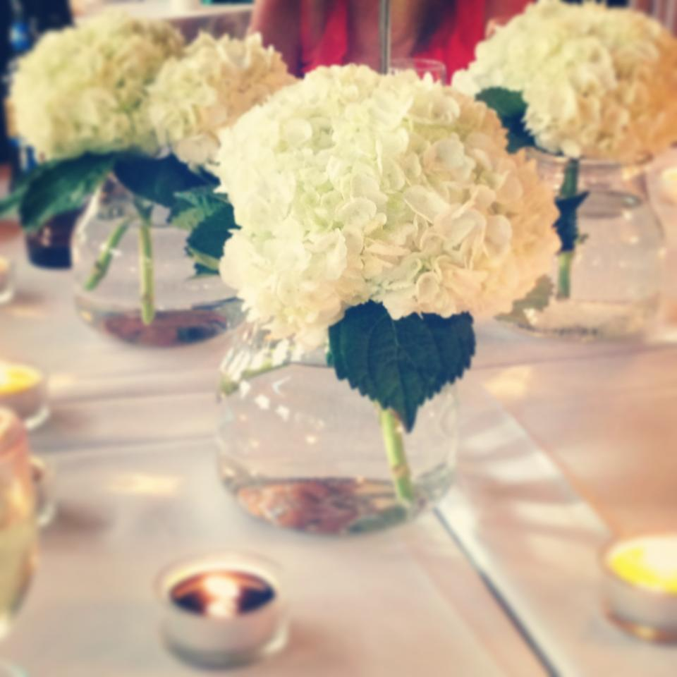 Ever ours events simple hydrangea centerpieces