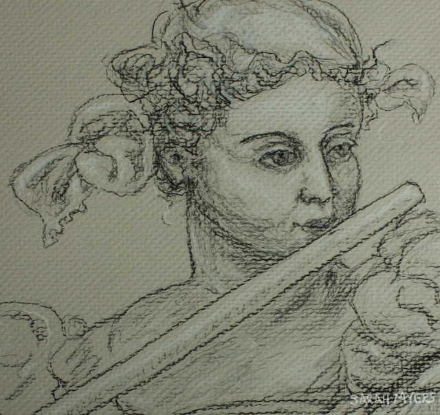 flautist, music, flute, detail, face, eyes, sarah, myers, drawing, figurative, human, woman, classic, sixteenth, century, tobias, stimmer, art, arte, musical, instrument, charcoal, conte, shading
