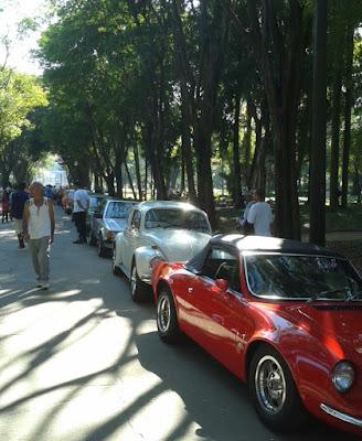 Mensalmente as alamedas arborizadas do Parque da Luz ficam tomadas por carros antigos.