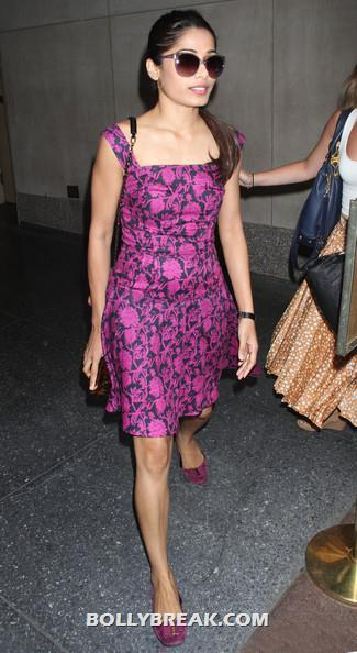 Frieda Pinto hot pic - (2) -  Freida Pinto pink dress in New York