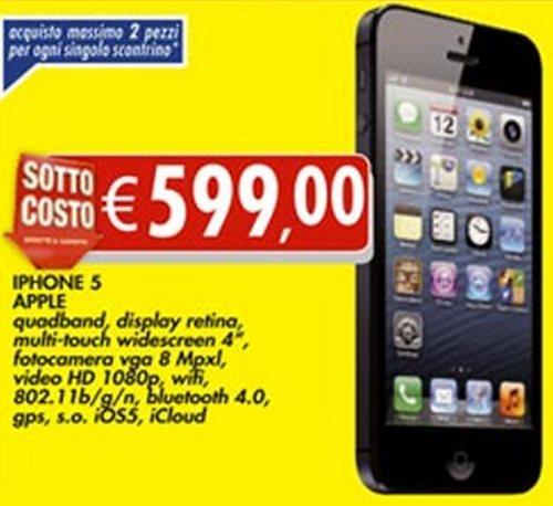 Offerta bomba a prezzo veramente basso per l'iPhone 5 proposto nell'ultimo volantino Bennet