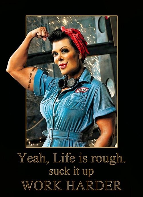 The Icon Of Strong Woman Worker With The Saying Yeah, Life Is Rough, Suck It Up Work Harder On Labor Day Poster