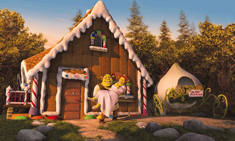Shrek carries Fiona outside their cottage