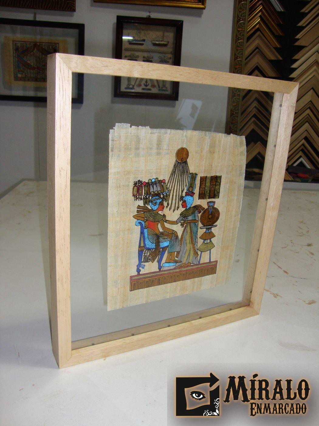 Enmarcado de papiro egipcio en doble vidrio for Enmarcar cuadros precios