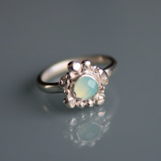 Silver 'Pebble' ring with Chalcedony stone