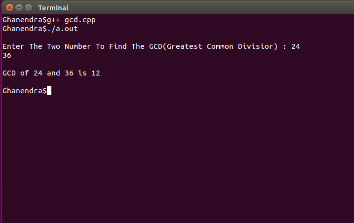 Write a c program to calculate greatest common divisor