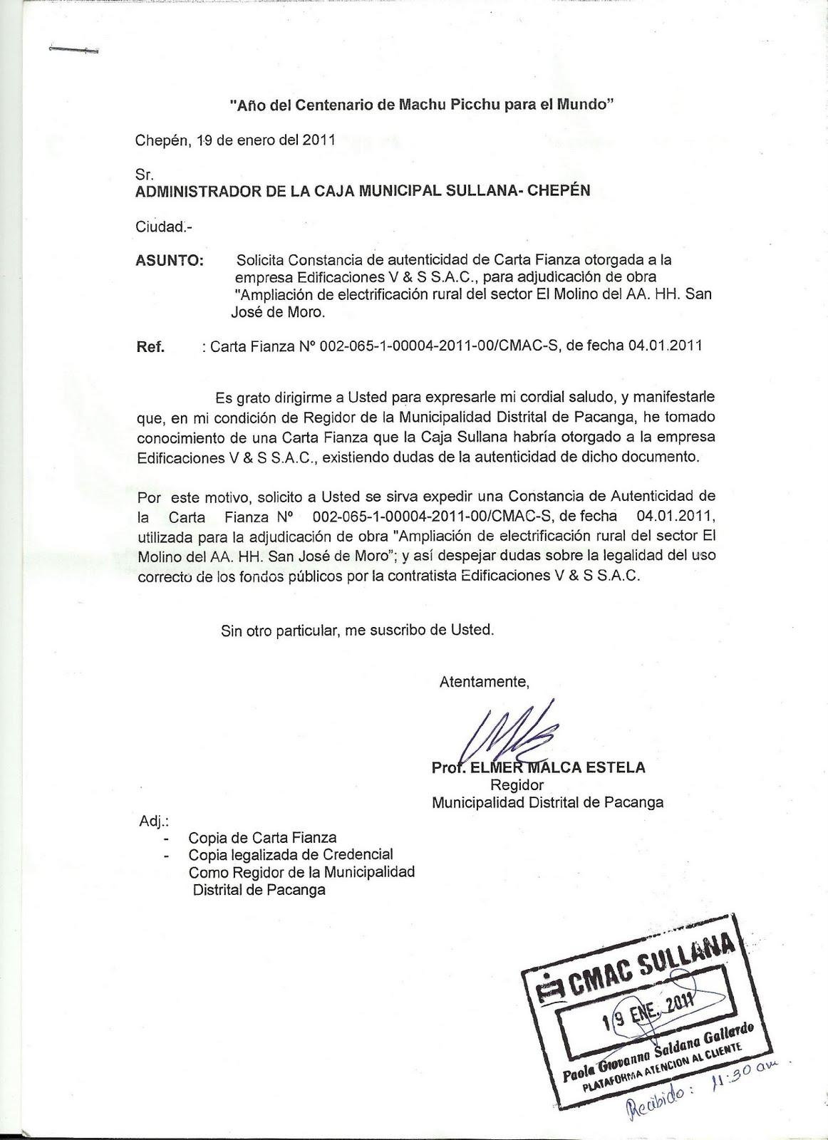 Elmer Malca Estela - REGIDOR: Solicitud a la Caja Sullana sobre ...