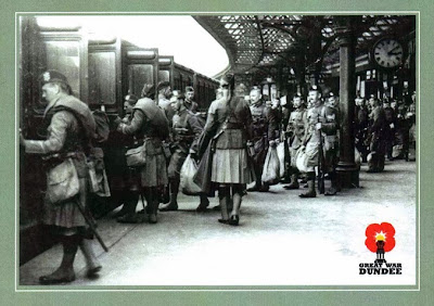 Members of the 4th Battalion, the Black Watch depart from Dundee Tay Bridge Station heading for their depot during the First World War