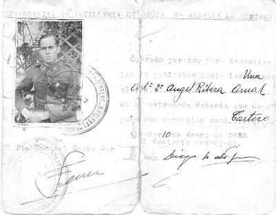 Cartilla militar de Ángel Ribera Arnal, 1932
