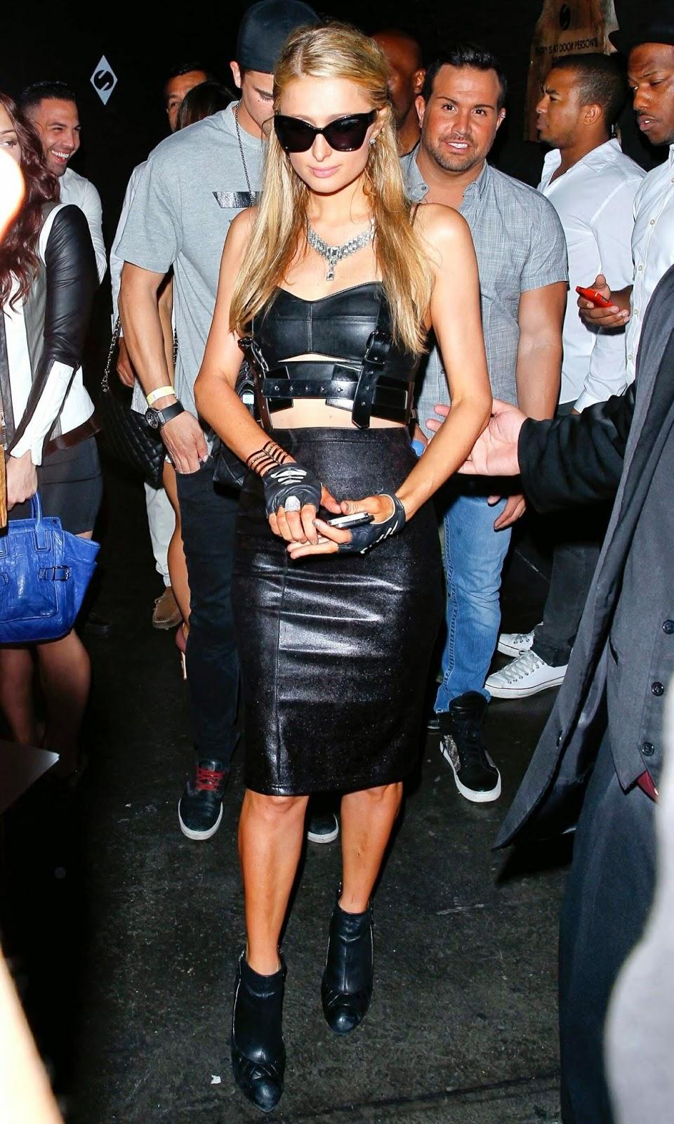 Paris Hilton in a leather look at Sound Nightclub in LA