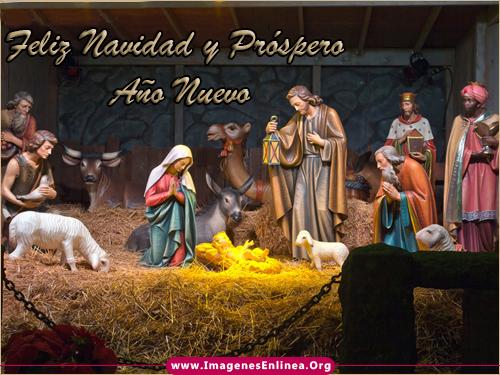 Feliz navidad y Próspero Año Nuevo, Imagenes de nacimiento de Jesús en el pesebre.