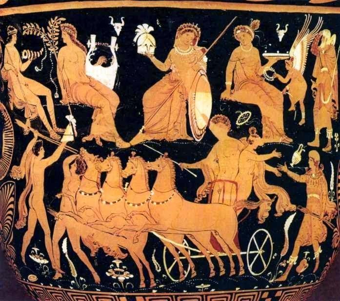 Η αρπαγή του Χρύσιππου.-Απουλικός κωδωνόσχημος κρατήρας του ζωγράφου του Δαρείου, περίπου 350-325 π.Χ. Οδηγώντας ένα τέθριππο άρμα ο Λάιος τρέχει έχοντας αρπάξει στην αγκαλιά του το μικρό Χρύσιππο, που κουνά με απόγνωση τα χέρια του, ζητώντας βοήθεια από τον πατέρα του. Αριστερά δύο νέοι με δόρατα, ίσως οι αδερφοί του Χρύσιππου, ο Ατρέας και ο Θυέστης. Από ψηλά εποπτεύουν ο Πάνας, ο Απόλλων, η Αθηνά και η Αφροδίτη με τον Έρωτα. Στην άκρη δεξιά θρηνεί ο παιδαγωγός τραβώντας τα μαλλιά του. Βερολίνο, Staatliche Museen, 1968,12
