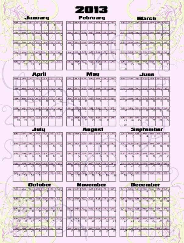 Photography Blography 2013 Yearly Calendar Template For Photoshop
