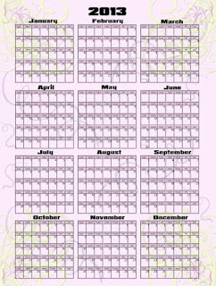 2013 Yearly calendar template for photoshop in psd, png, and jpg for printing, pale pink background with darker pink colour bands, pale mauve and yellow swirls
