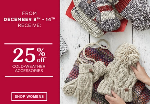 Roots Holiday Offers 25% Off Cold-Weather Accessories 50% off Watches + 25% off Outerwear
