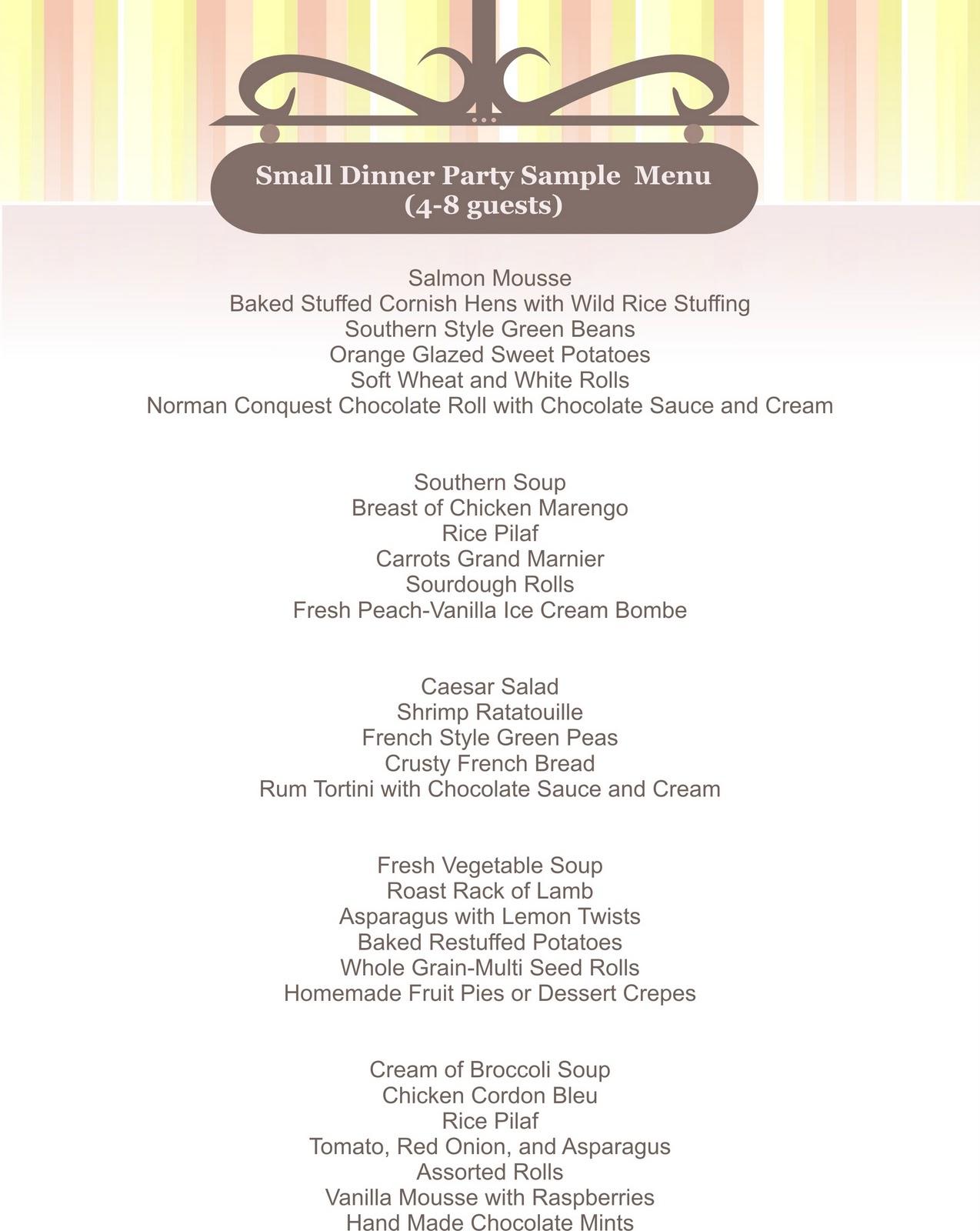 Vegetarian Menu Ideas For Dinner Party Part - 45: Small Dinner Party Sample Menu Large Dinner Parties Sample Menu