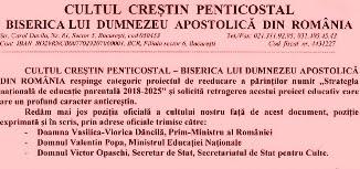 Cultul Penticostal din România: Comunicat referitor la Strategia națională de educație parentală