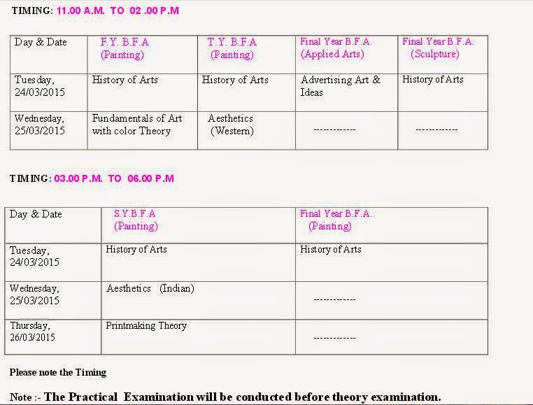 BFA March, April 2015 Timetable Pune University