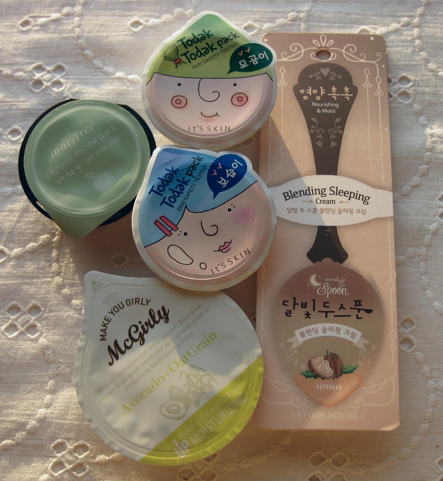 It's Skin Todak Todak Pack Pore Moisture, Too Cool For School Mcgirly Smoothie Pack , INNISFREE Capsule Recipe Pack, ETUDE HOUSE Moonlight In Spoon Blending Sleeping Cream