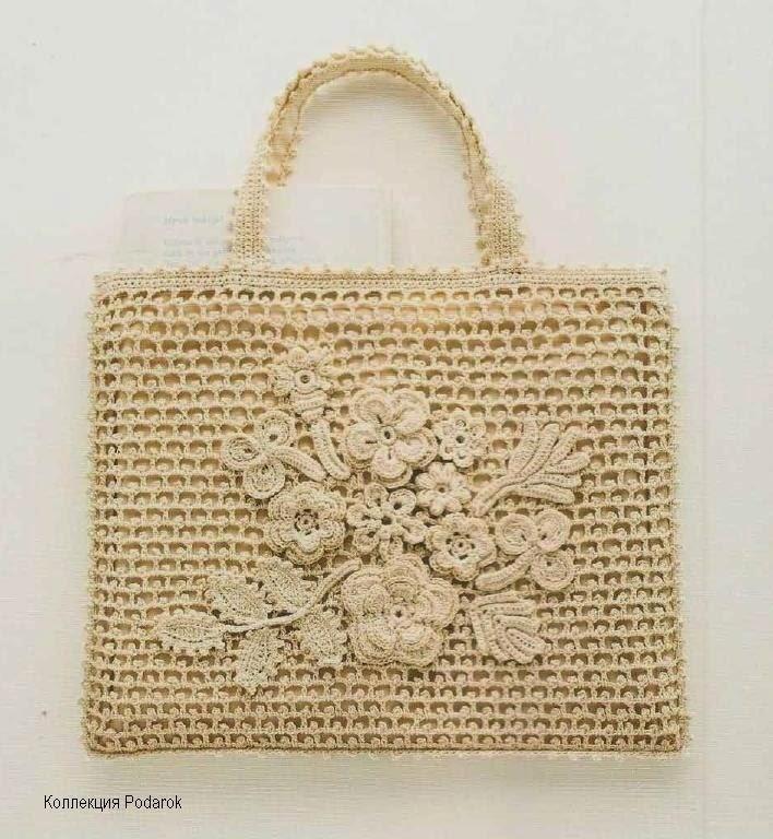 tutorial para bolso tejido con ganchillo y flores crochet irlandés