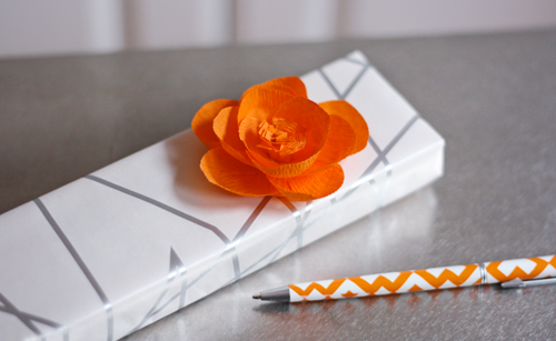 Make flowers from crepe paper how about orange crepe paper like thisthe folded sheets not streamers an impulse purchase simply because it was orange the other day i finally made some flowers mightylinksfo