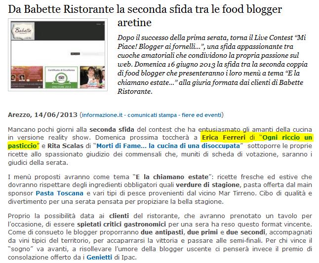http://www.informazione.it/c/F393BBBA-2F64-4FA8-9058-5582FC6679B8/Da-Babette-Ristorante-la-seconda-sfida-tra-le-food-blogger-aretine