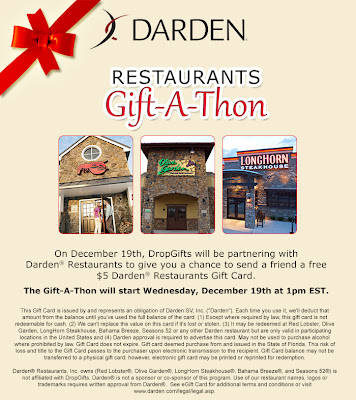 Huge Darden® Restaurants Gift Cards Giveaway