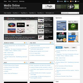 Media Online blogger template. magazine style blogger template. 4 column footer blogger template. download template blogge seo friendly