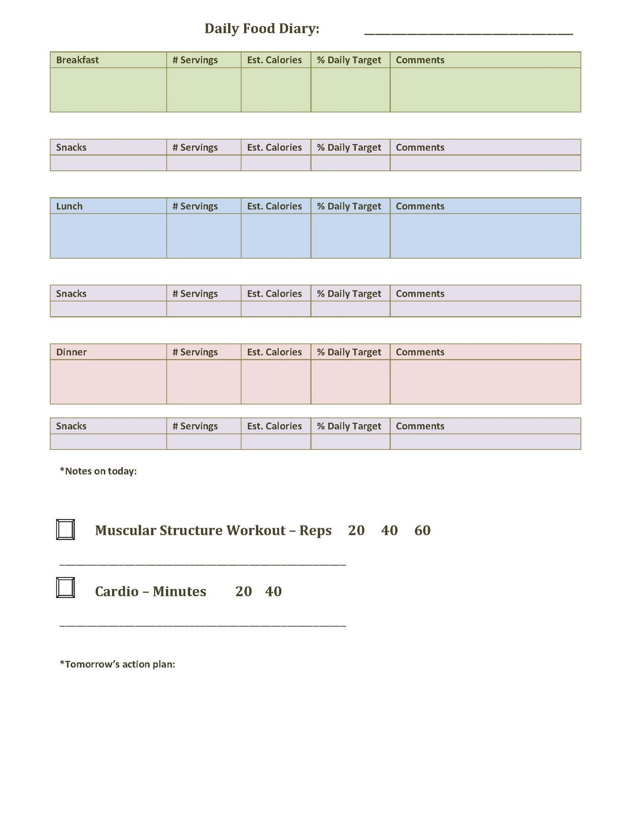 daily food log template word
