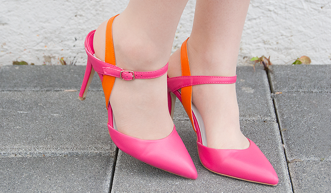 pink and orange heels, dorothy perkins, pointy shoes