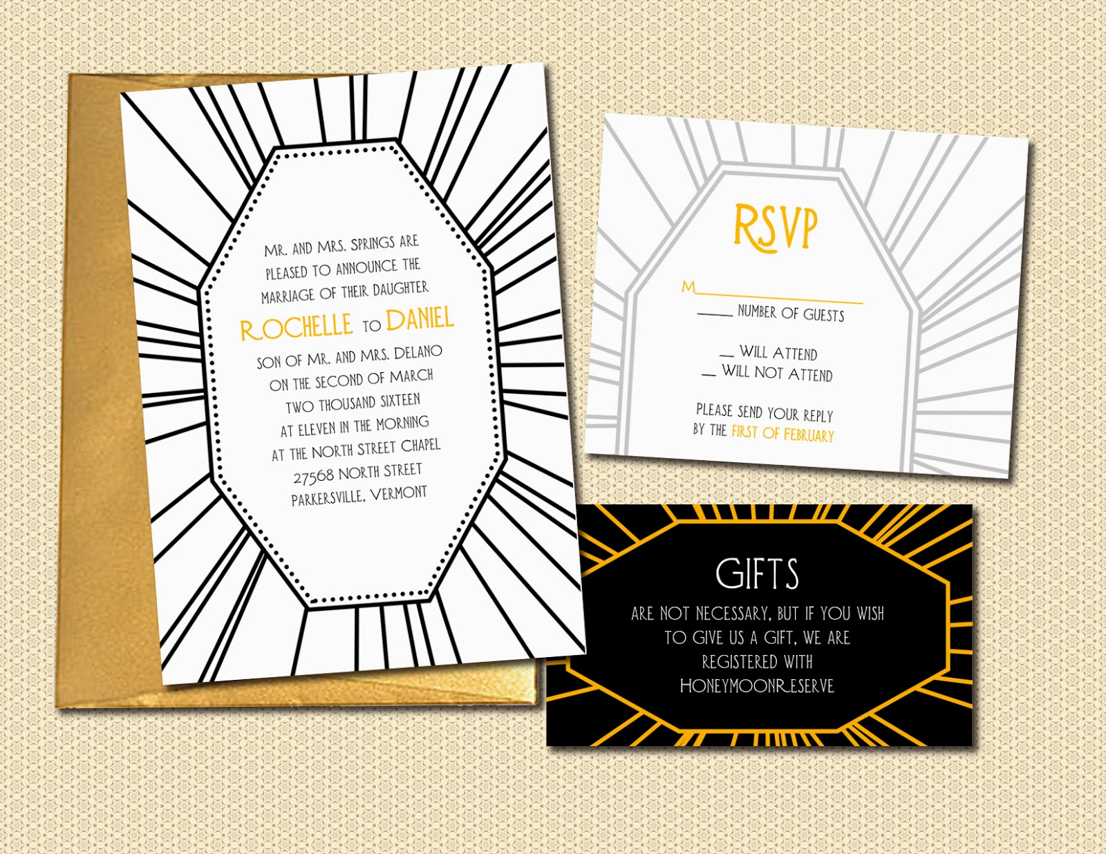 Art Deco Wedding Invitation, RSVP, and info card