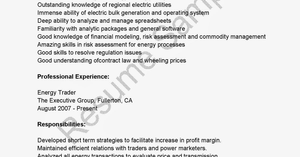Resume Samples: Energy Trader Resume Sample