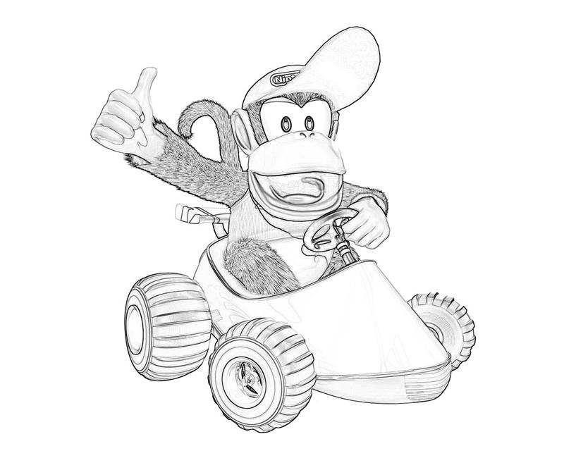 Donkey kong country returns diddy kong race mario for Diddy kong coloring pages