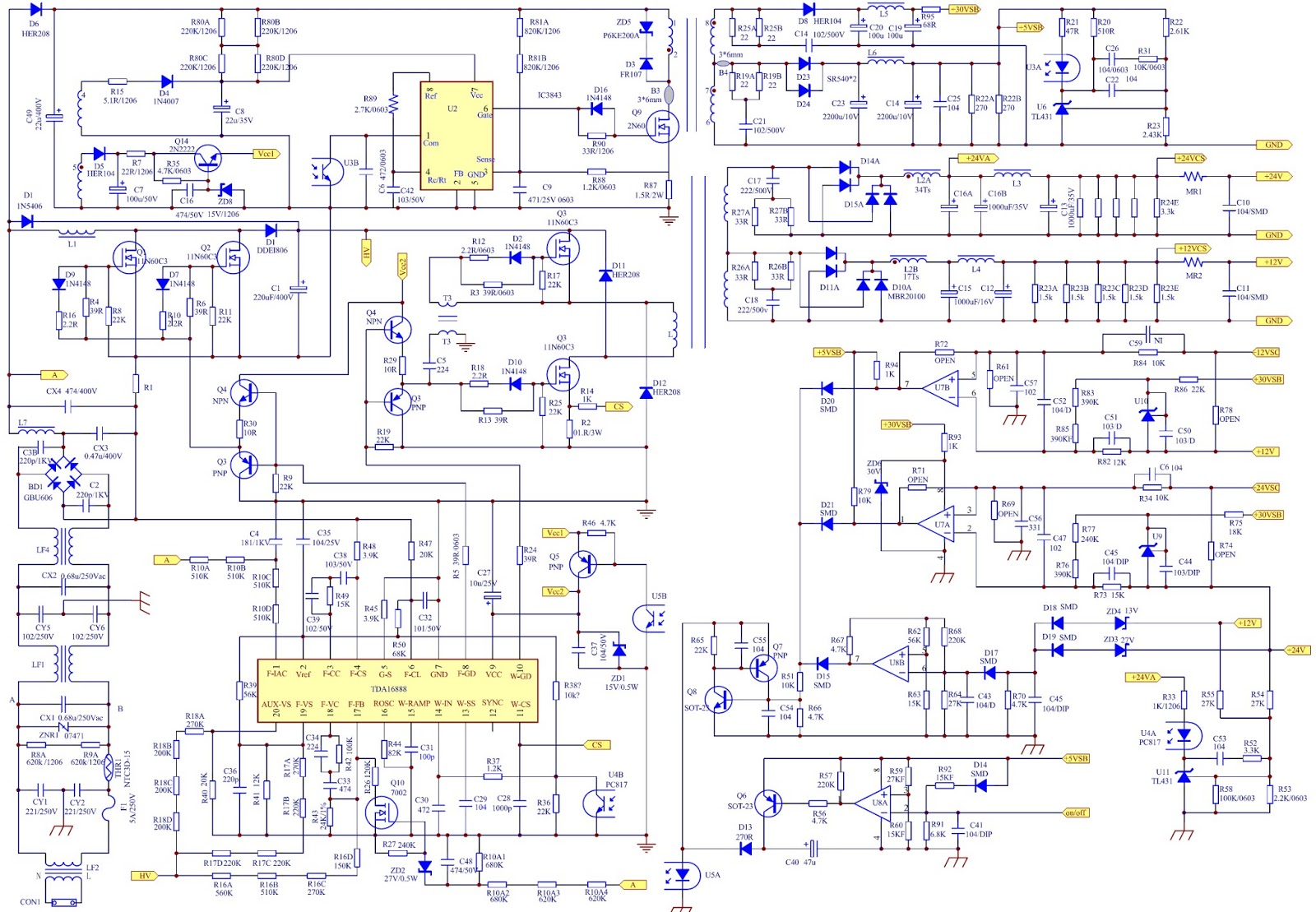Main Power Supply Smps Schematic Diagram Circuit