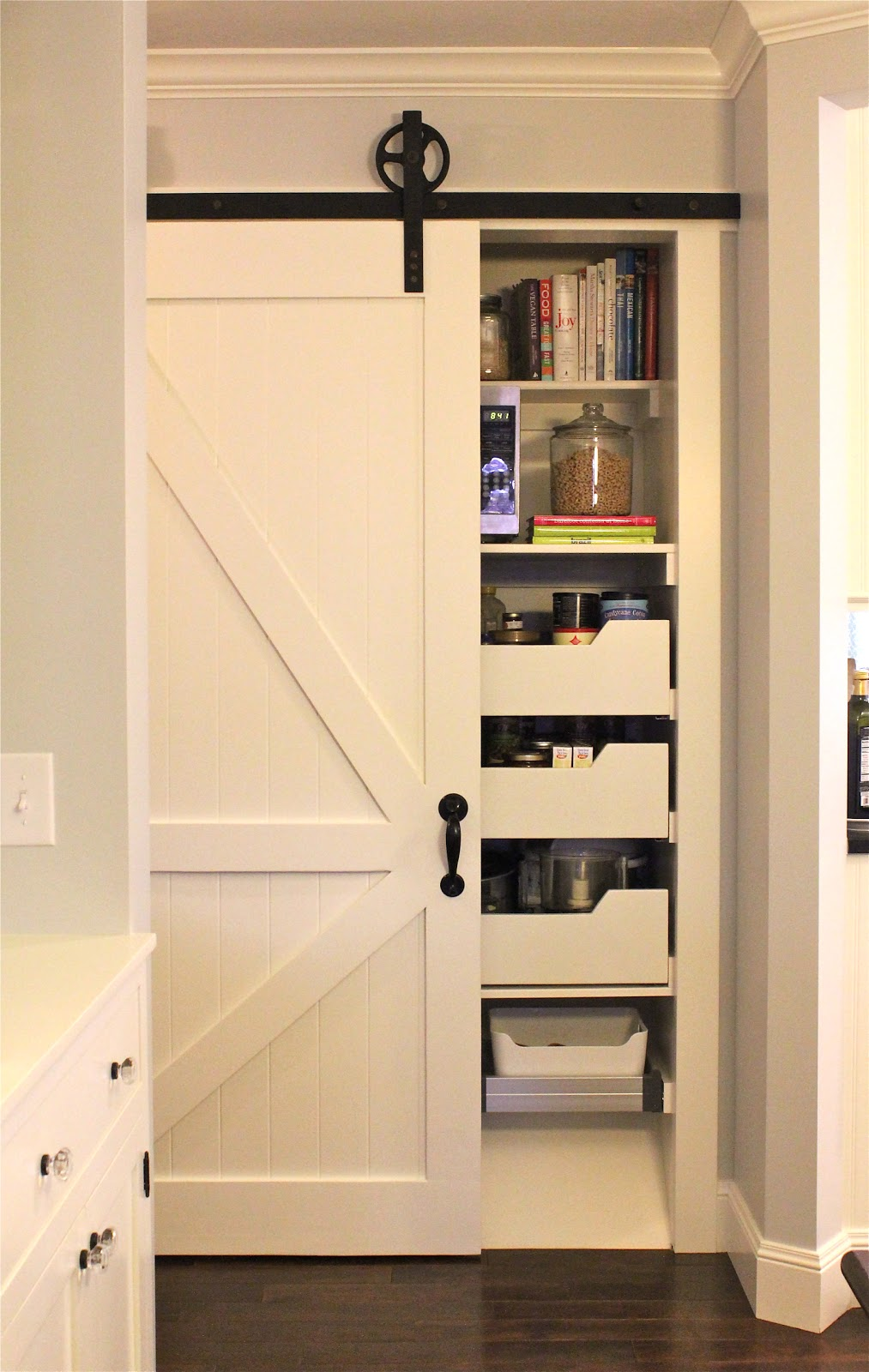 A tree lined street barn door hardware for Pantry barn door hardware
